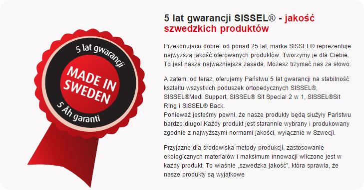 5 lat gwarancji Sissel